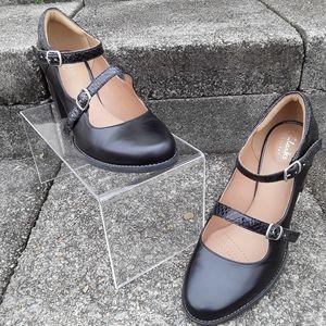 Clark's Artisan Black Leather Heels Women's 7.5